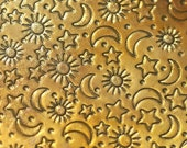 Brass Textured Metal Sheet Stars Moon and Sun Pattern 26g - 6 1/8 x 2 inches - Bracelets Pendants Metalwork