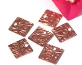 Copper 26g 12mm Blank Square Lotus Flowers Texture Cutout for Blanks Enameling Stamping Texturing