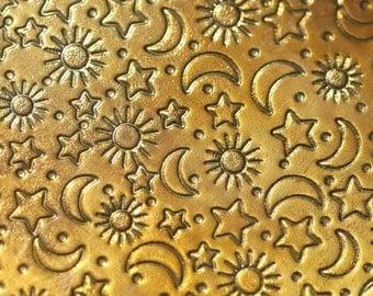 Brass Textured Metal Sheet Stars Moon and Sun Pattern 20g - 6 x 2 inches - Bracelets Pendants Metalwork