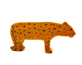 leopard figurine, wooden leopard toy, wood toys, wooden animal toys, waldorf toys