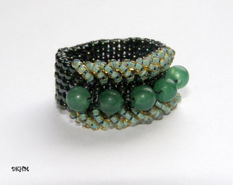 Beaded ring with green aventurine beads, OOAK