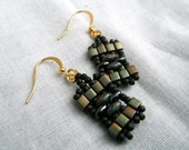 Olive Moss Green Cube and Twin Bead Earrings