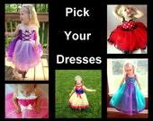 Princess & Character Dresses, Choose any 2, 3 or 4 Dresses, Size 12m-5: Rapunzel, Aurora, Sofia, Ariel, Snow White, Alice in Wonderland