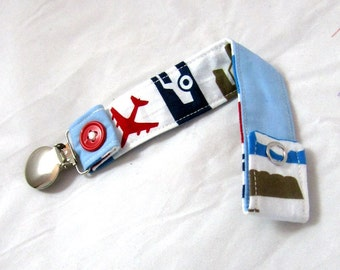 Pacifier Clip with Snaps Double Sided - transportation/blue solid