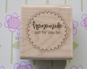 Handmade Just for you, Handmade Circle - Stampabilities Rubber Stamp