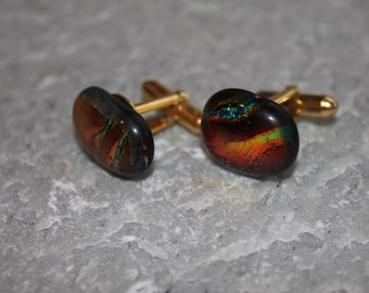 Dichroic Fused Glass Cuff Links Rich Colors