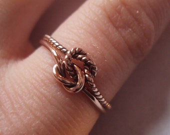 ROSE gold knot ring, gold double knot ring, solid gold, half 10kt plain, half 10kt twist