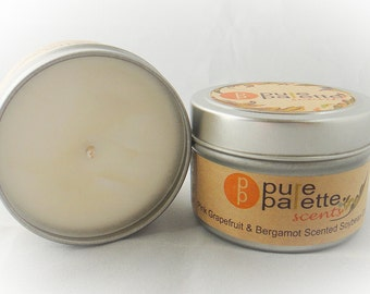 ON SALE Grapefruit and Bergamot Scented Soy Candle in 4 Oz. Travel Tin