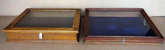 Two Countertop Display Cases Glass Tops Wood Frames