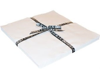"Kona Cotton Solid Ten Squares by Robert Kaufman Fabric-Snow 42 pcs - 10"" x 10"" squares (TEN-121-42 PC)"
