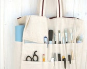 Brown natural canvas large tote organized artist bag