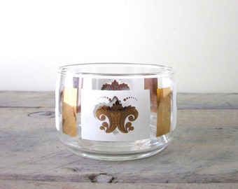 Mid Century Modern Glass Wine Coaster Bowl Barware Gold and White