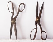 Antique Tailors Shears Scissors - 19th Century Metal Long Blade - Sewing Collectible