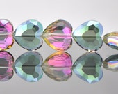 48pcs Faceted Heart Crystal Glass beads 16mm Green Rose -(TS21-7)