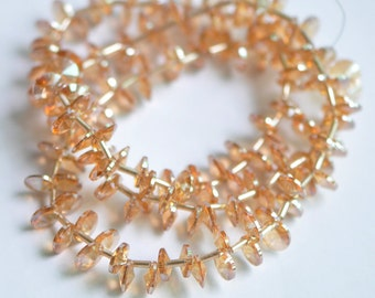 Crystal Glass Round Coin beads 8mm Champagne- (TS49-1)/145pcs