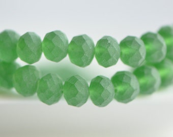 Matte Faceted Rondelle Crystal Glass Beads 6x8mm Green -BZ0879/ Full strand