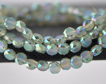 70pcs Faceted Rondelle Frosted Crystal Glass beads 6mm Green Yellow -(MB06-3)