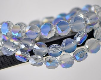 Crystal Rondelle Frosted Faceted Glass beads 12mm Matte Blue -(MB12-1) /48pcs