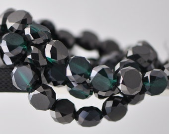 Rondelle Crystal Glass Faceted Coin beads 12mm Matte Black Green-(MB12-14)/ 48pcs