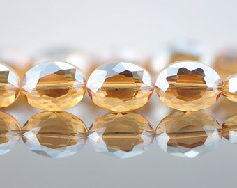 Oval  Crystal Glass Faceted beads 16mm Champagne - (TS56-4)/ 48pcs