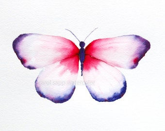 red and violet butterfly archival print of original watercolor painting