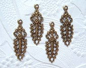 Antique brass filigree drops, lot of (4) - MH136