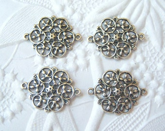 Antique silver filigree 2 ring connector lot of (4) UR168