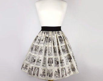 Black & White Loteria Folklorico Day of the Dead Full Skirt