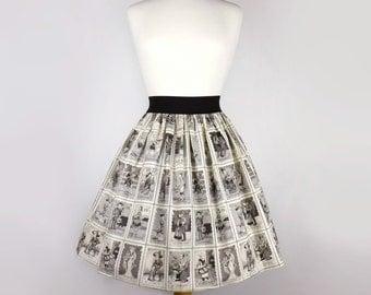 Black & White Loteria Folklorico Day of the Dead Full Skirt