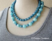 Blue Jade Necklace Double Strand Necklace Chunky Gemstone Statement Necklace, Blue Gemstone Necklace, Multi Strand Blue Beaded Necklace