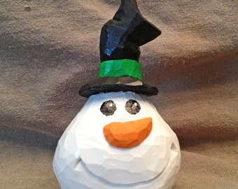 Hand Carved Handmade Happy Snowball Snowman Wood Carving Wood Carvers of Etsy
