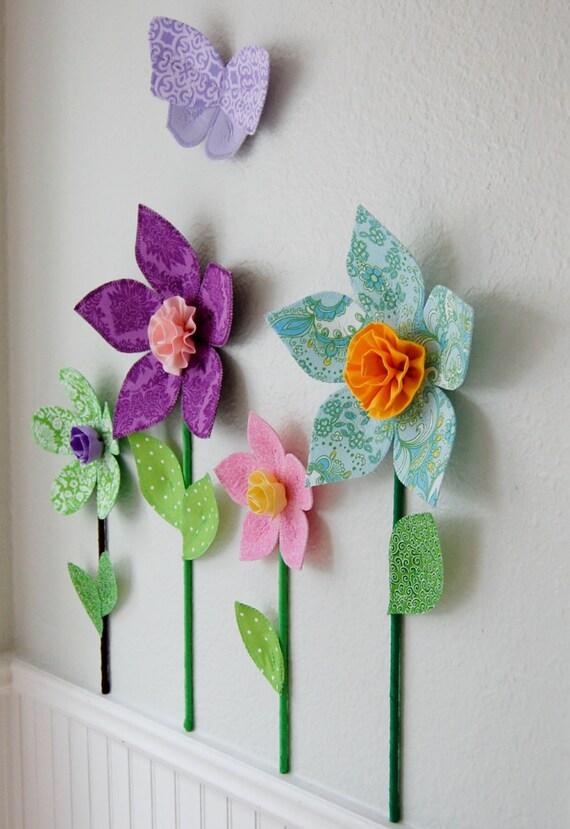 Flower wall decal girls room decor wall flowers 3d wall for 3d flowers for wall decoration