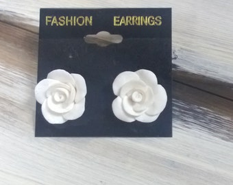 Hand Made White Rose Polymer Clay Post Earrings