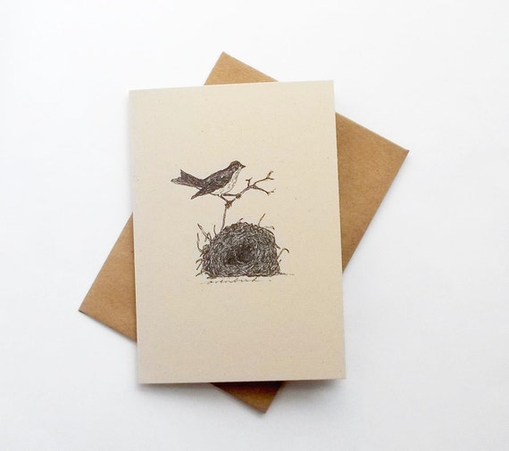 Bird and nest notecard. Nature note card with drawing of ovenbird and nest, with text on the back about ovenbirds. Card for nature nerds.