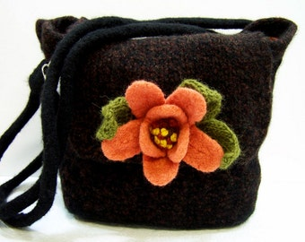 Knit Felted Wool Purse, Shoulder Bag, Black Brown Purse, Fabric Lined, Large Boiled Wool Purse, Felted Flower