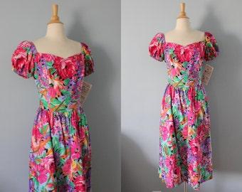 Vintage cotton floral dress/ new old stock cotton dress/ Watercolor dress