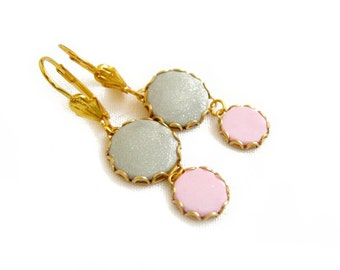 Pink Grey Dangle Earrings, Polymer Clay Cabochon Earrings - Color Dot Collection - Handmade Polymer Clay Statement Earrings