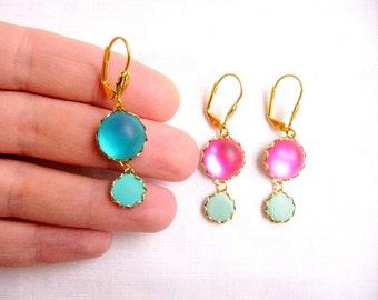 Blue Drop Earrings, Glass Statement Earrings, Blue Gold Earrings - Color Dot Collection - Blue Statement Earrings