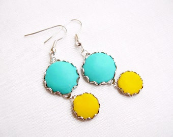 Simple Dangle Earrings, Blue Yellow Polymer Clay Statement Earrings - Color Dot Collection