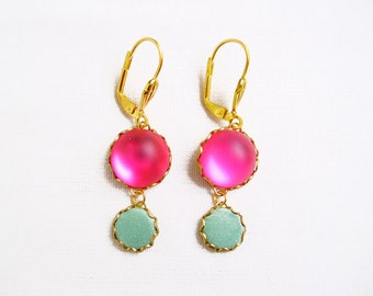 Mint Pink Earrings, Glass Dangle Earrings, Statement Earrings, Gift Under 20 - Color Dot Collection