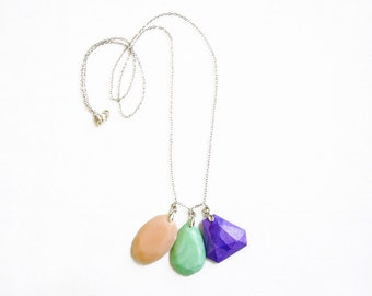 Long Polymer Clay Necklace, Gem Pastel Necklace in Mint Peach Purple, Gem Candy Collection