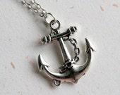Anchor Necklace (N332) in vintage silver color