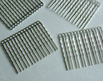 12 pieces of Silver Plated 14 Holes Hair Comb - 44 x 36 mm