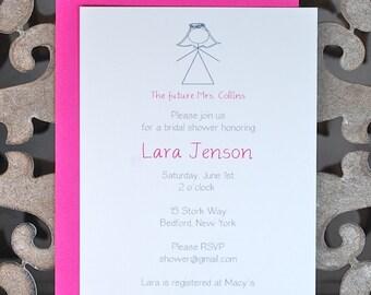 Bridal Shower Invitations Stick Figures Figure Weddings Simple Wedding