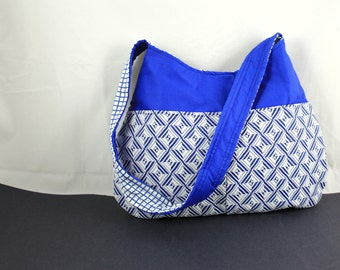 The Millie Handbag by Nstarstudio - Hobo Shoulder Sling Purse- Geometric Blue and White Fabric