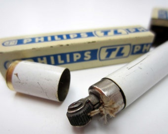 Vintage PHILIPS gasoline LIGHTER⎮NEON tube shaped⎮rare European advertising⎮collectible lighter⎮smoker gift idea