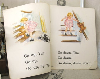 Vintage Dick and Jane Big Book Plate, Double Page, Illustrated, Over Sized, Children's Book, Dog, Teddy Bear, Toy, Very Large,Paper Ephemera