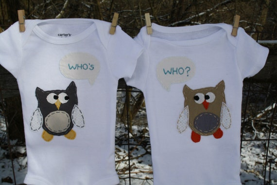 "Twin Gender Neutral ""Who's Who"" Owl Twin set, bodysuits for twins (gender unknown) handsewn"