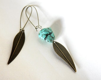 asymmetrical tribal earrings - antique bronze leaves and turquoise howlite
