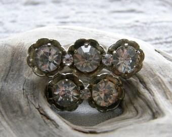 Vintage Czech rhinestone brooch in silvertone setting circa the 1950's